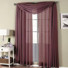 Sheer Maroon Curtains With Home Decor Abri Eggplant Rod Pocket Crushed Sheer