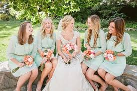 simple long sleeves high neck knee length bridesmaid dresses mint
