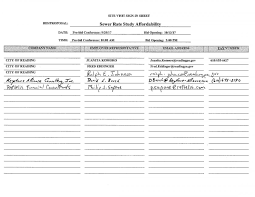 bid rate pre bid meeting sign in sheet sewer rate study affordability