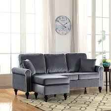 Grey Velvet Sectional Sofa by Amazon Com Classic And Traditional Small Space Velvet Sectional