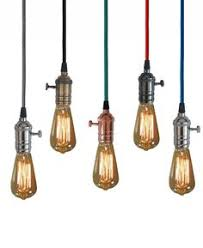 Coloured Cord Pendant Lights Vintage Style Bulbs Hanging From Coloured Cord Lighting