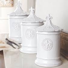 beige fleur de lis ceramic kitchen canisters set 3 by fleur de lis canister wayfair