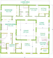 apartments floor plan with courtyard in middle of the house