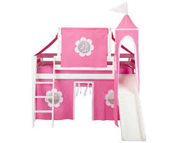 jackpot low loft bed with top tent tower slide u0026 curtains white
