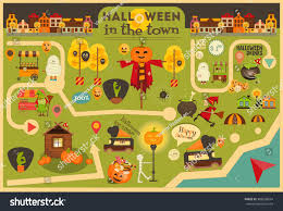 halloween town street food october party stock vector 488538694