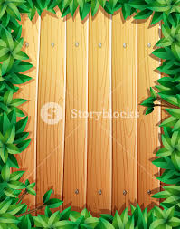 wooden leaves wall border design with green leaves on wooden wall illustration