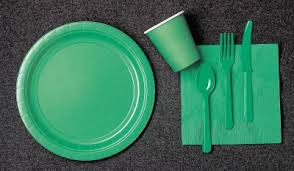 green paper plates napkins and cups 2 order
