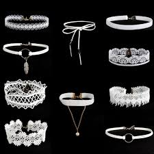 white lace necklace images 10pcs white flower lace velvet choker necklace chain collar punk jpg