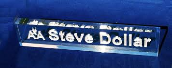 personalized acrylic desk name plate crystal images inc