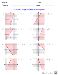graphing inequalities worksheets math aids com pinterest