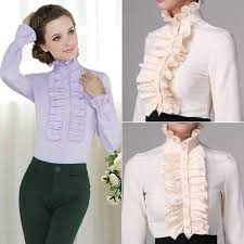 frilly blouse high neck frilly womens vintage ruffle top shirt