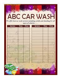 car wash price list template nice word templates