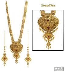 gold long necklace set images 22k antique polki necklace set ajns55836 22k gold long patta jpg