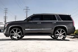 cadillac escalade black rims dub future wheels black with machined face and double dark tint