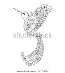 hummingbird tattoo psychedelic zentangle style vector stock vector