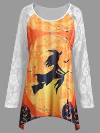 Plus Size Halloween Shirts by Plus Size Lace Panel Halloween Pumpkin Asymmetrical T Shirt White