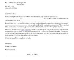 formal resignation letter sample submit a formal resignation