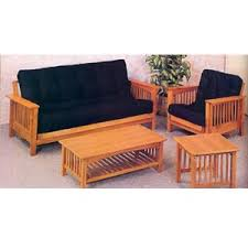 futons oak mission style fuson sofa and chair 5137 co