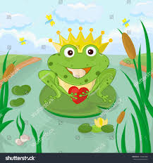 cartoon funny prince frog crown on stock vector 110049368
