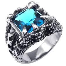 aliexpress buy mens rings black precious stones real konov mens stainless steel ring claw blue