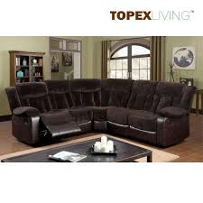 Comfortable Living Room Furniture Sets Fabric Cushion Leather Transitional Brown Sectional Recliner Sofa