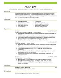 sample marketing resume berathen com
