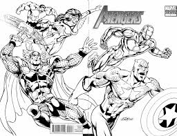 marvel superheroes avengers in action coloring page for kids