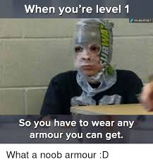 Noob Meme - when you re level 1 via 8shitnet so you have to wear any armour