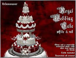 Red And Silver Wedding Second Life Marketplace Dr3amweaver Royal Wedding Cake Red