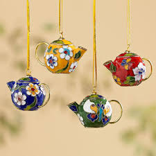 cloisonné teapot ornaments set of 4 national geographic store