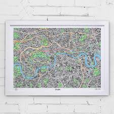 Framed Map Of The World by Hand Drawn Map Of London Art Print Art Prints Stationery