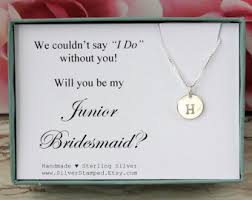bridesmaid invite gift for bridesmaid invite sterling silver initial necklace