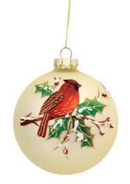 4 glitter cardinal birds on snowy branch glass