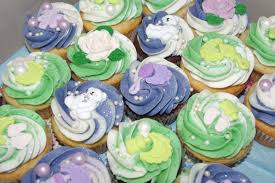 green and purple for a baby shower