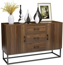 buffet sideboard cabinet storage kitchen hallway table industrial rustic mecor kitchen sideboard buffet storage cabinet industrial modern server collective design 2 doors and 3 drawers w stable iron frame walnut brown