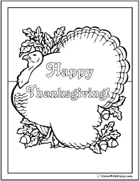 happy thanksgiving coloring turkey greeting