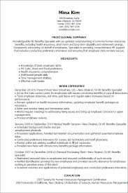 Human Resource Resume Sample by Hr Benefits Specialist Resume Example Contract Specialist Resume
