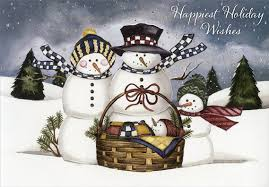 snowman family with baby box of 18 christmas cards by designer