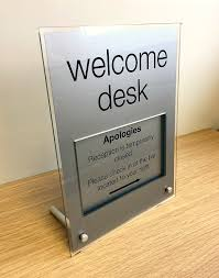 check in desk sign acrylic desk sign with legs buysigns