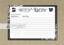 recipe card instant download chalkboard black white bridal