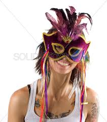 mardi gras masks for women stock photo of woman with tattoos wearing a mardi gras mask