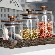 artisan glass canisters with walnut lids the container store