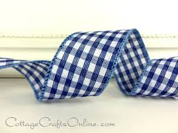 navy blue wired ribbon navy blue and white woven gingham check plaid with navy thread