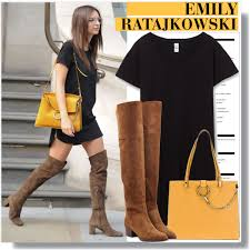 womens boots trends how to wear emily ratajkowski in the knee boots idea