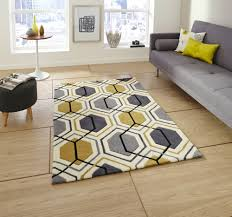 Modern Rugs Ltd by Hong Kong Grey Yellow Mustard Ochre Geometric Geo Hand Tufted Rug
