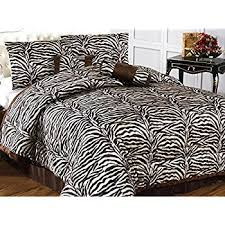 Zebra Comforter Set King Amazon Com Beautiful 7 Pc Black And White Zebra Print Faux Fur