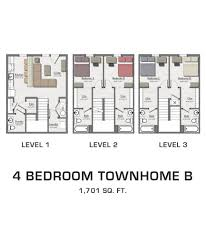Four Bedroom by Floor Plans For Msu Students Student Housing In East Lansing