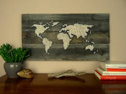 World Map Wood Wall Art by World Map String Art Gift For Couple Reclaimed Wood