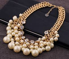 bib necklace aliexpress images Fashion luxury pearl necklace crystal gold chain statement choker jpg