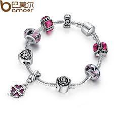 silver leaf bracelet images Bamoer original silver leaf clover charm bracelet with purple jpg